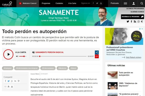 todo perdón es autoperdón. entrevista a Andrea Sydow con el Dr. Santiago Rojas en Caracol Radio - desarrollo personal, amor y perdón