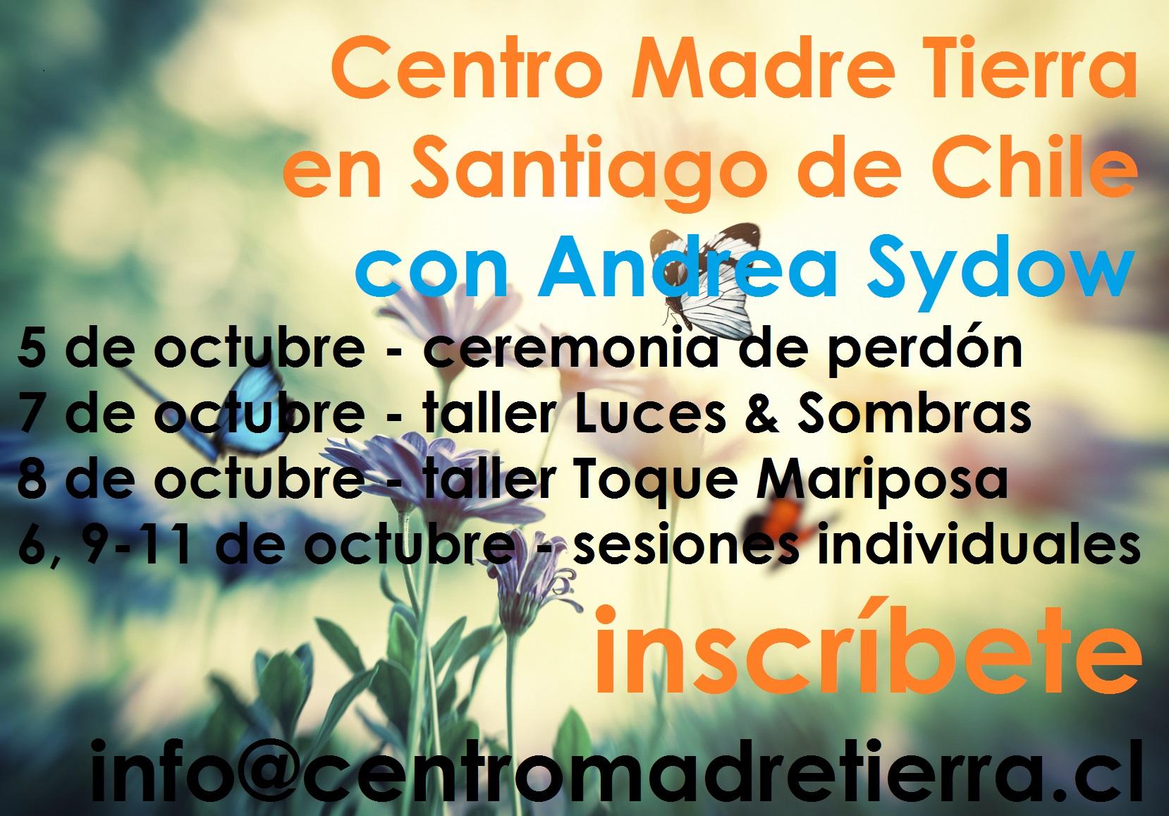 sanación, encuentro y autperdón con Andrea Sydow en el Centro Madre Tierra en Santiago de Chile