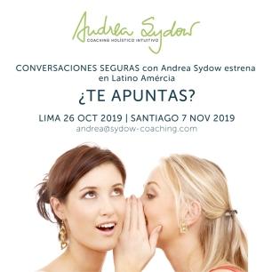 conversaciones seguras con andrea sydow en lima y santiago de chile